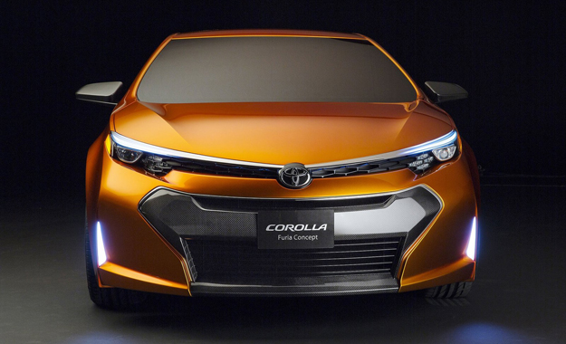 A gaping blacked-out grille and upright LEDs highlight the Corolla Furia's nose