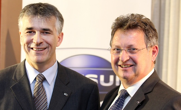 Vincent Cobee, corporate vice-president of Nissan (left) with Nissan SA's Mike Whitfield
