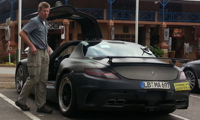 The rear of this camouflaged SLS AMG looks very similar to that of the SLS AMG Black Series
