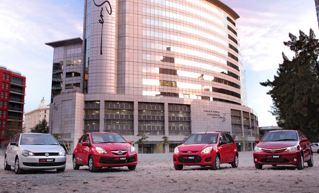 The Brio (second from left) is the latest entrant into the burgeoning budget B-segment populated by the Polo Vivo, Figo and Etios.