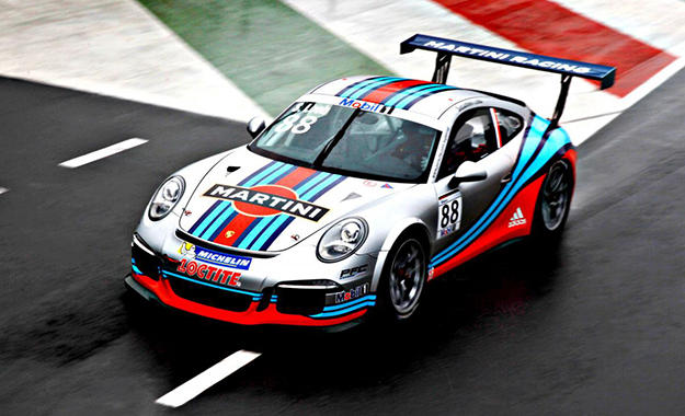The Martini racing-liveried Porsche 911 GT3 Cup will be piloted by Sébastien Loeb in the Porsche Mobil 1 Supercup