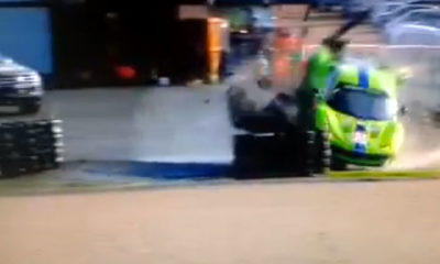 Huge Le Mans Ferrari Crash [video]
