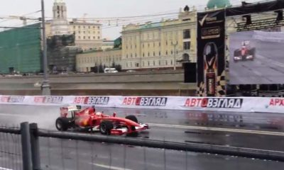 Kobayashi Wrecks Ferrari F1 Car During Demo Run [video]
