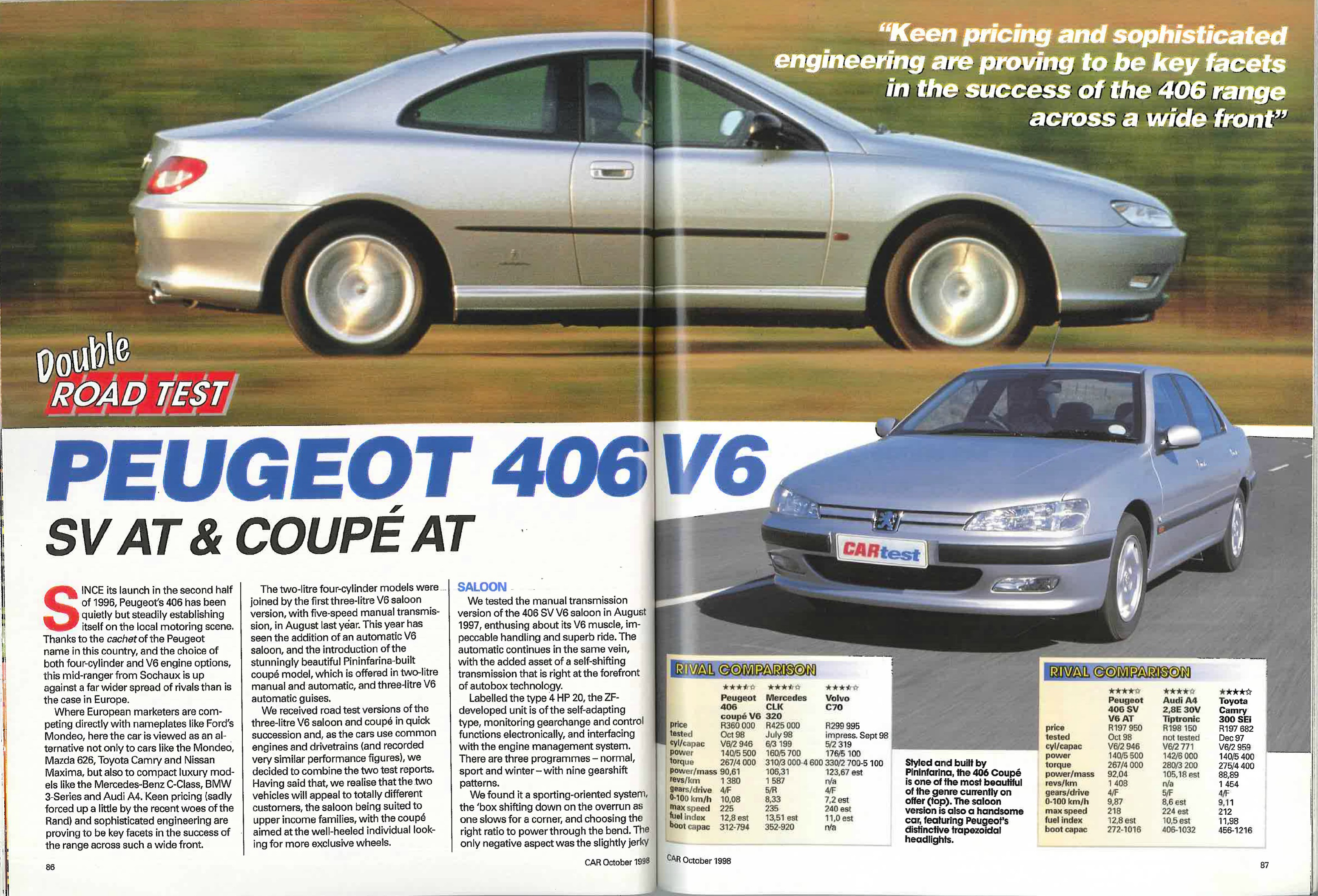 from the archives peugeot 406 v6 sv at and coupe at car magazine. Black Bedroom Furniture Sets. Home Design Ideas