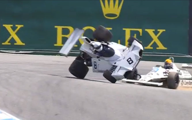 Classic Brabham F1 Car Flips At Laguna Seca [video]