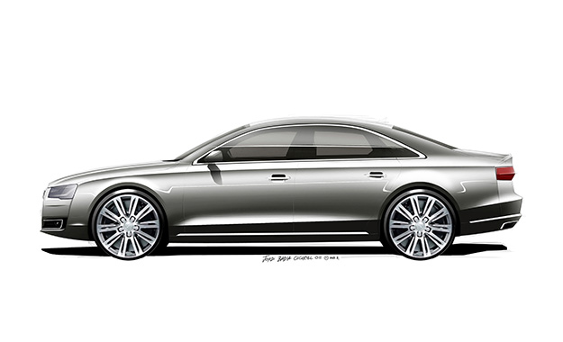 Audi A8 profile design sketch