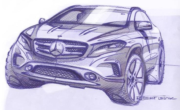 Front sketch of Mercedes-Benz GLA