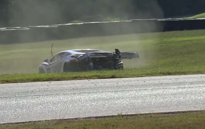 Lamborghini Gallardo Wrecked During Super Trofeo Race [video]