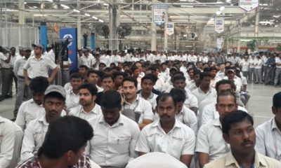 Factory workers in attendance for the roll-off ceremony
