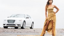 Tia Black promotes her new song, La Dolce Vita, with the Chrysler 300C 3,0 CRD as a backdrop. Photo: Zhann Solomons