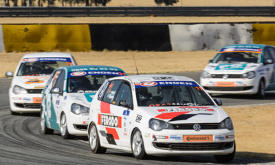 Daniel Rowe holds off the competition during the Engen Volkswagen Cup racing at Phakisa Freeway.