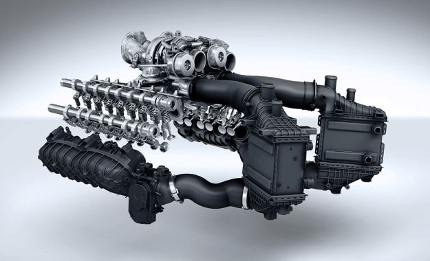 Note the twin, mono-scroll turbos sit between the heads.