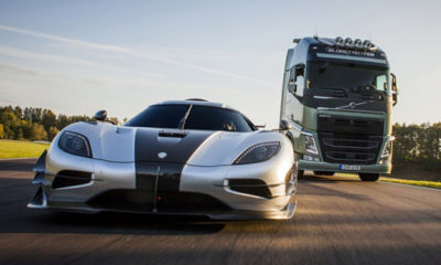 Volvo truck races the Koenigsegg