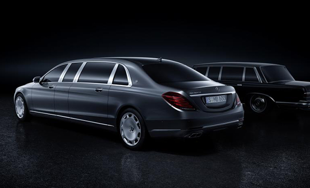 The new Mercedes-Maybach Pullman, here pictured with the Mercedes 600 that celebrates its 50th anniversary