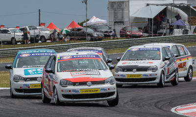 Sheldon van der Linde on his way to overall victory at the first Engen Volkswagen Cup race day of 2015.