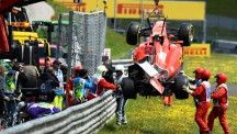 The Ferrari of Kimi Raïkkonen after that first-lap crash