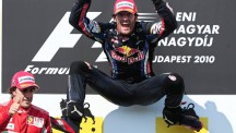Webber often took to the air when celebrating a victory