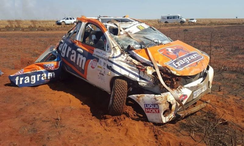 The Fragram Toyota Etios rally car looking worse for wear