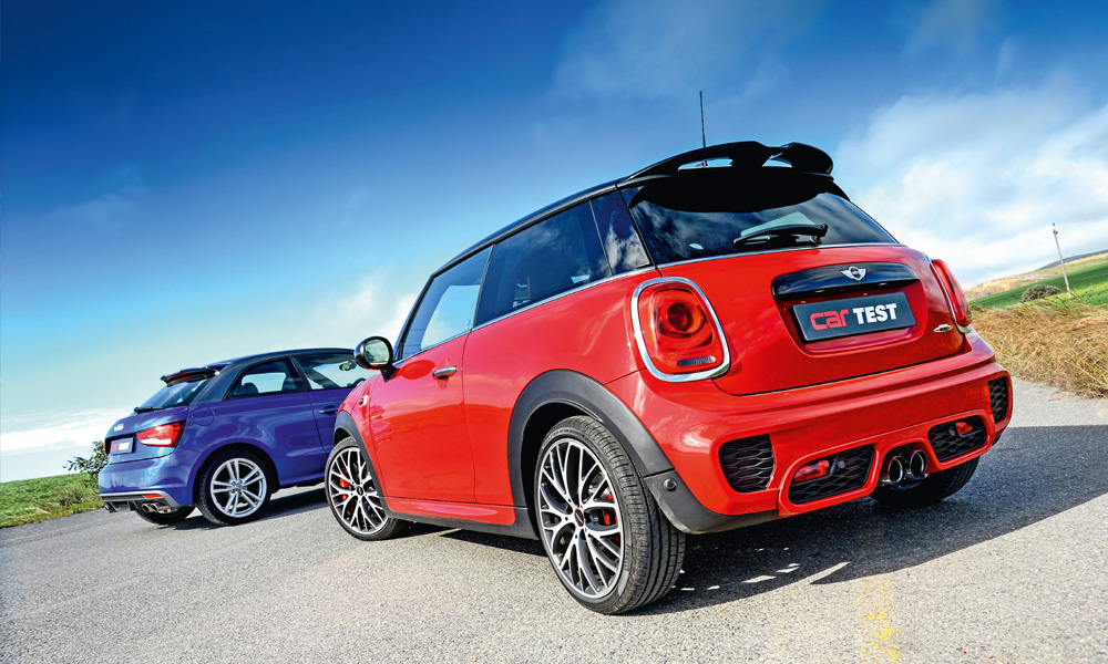 road test mini cooper jcw at vs audi s1 quattro car magazine. Black Bedroom Furniture Sets. Home Design Ideas