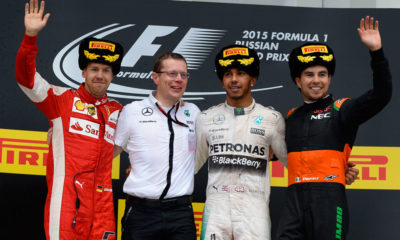 Lewis Hamilton (third from left) scored an untroubled victory thanks to the mechanical failure suffered by team-mate Nico Rosberg. Sergio Perez (far right) had the biggest slice of luck when a collision between Valtteri Bottas and Kimi Raikkonen promoted him to third.
