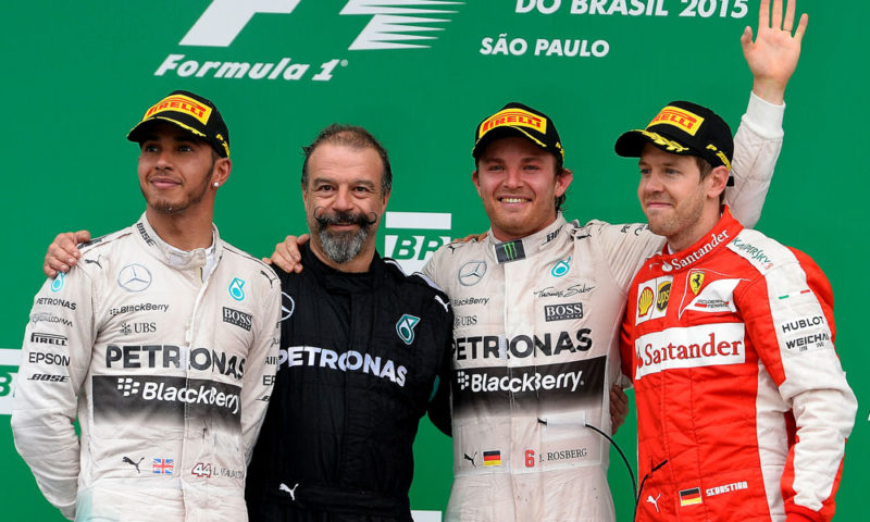 Nico Rosberg (second from right), drove a flawless race to win in Brazil, denying Lewis Hamilton (far left) his 44th race victory. Sebastian Vettel (far right) had hoped to prevent a Mercedes-AMG F1 one-two, but had to settle for third place.