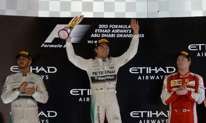 Mercedes-AMG F1 pilot Nico Rosberg (centre) ended the season in style with an untroubled win at Yas Marino. Lewis Hamilton (left) employed a different strategy, but could not outfox his team-mate. Kimi Raikkonen was a solid third for Ferrari.