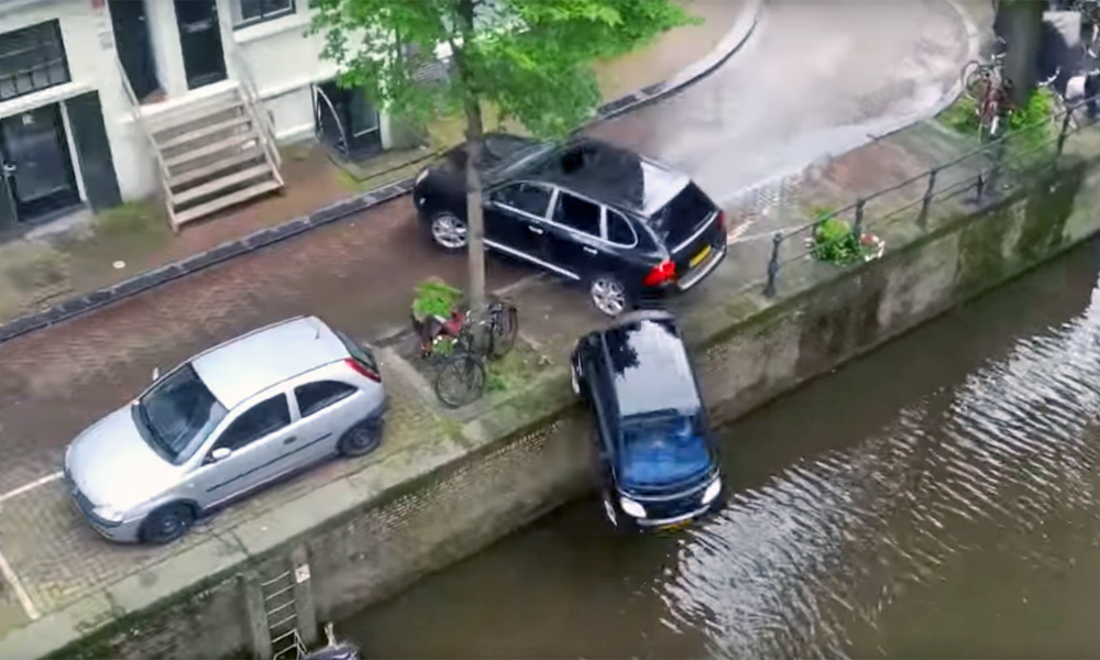 Porsche punts Smart into river
