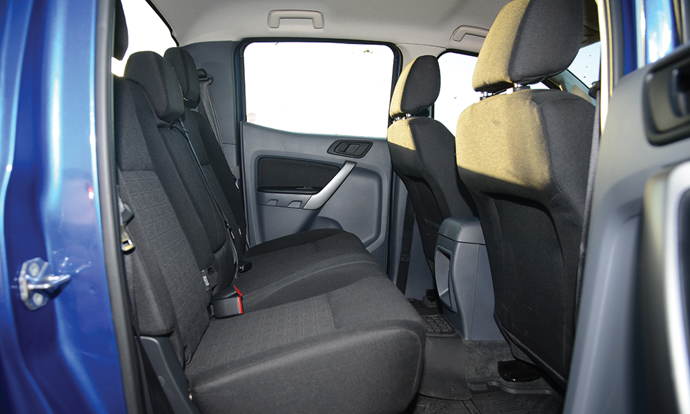 The rear bench in the Ranger is too upright.