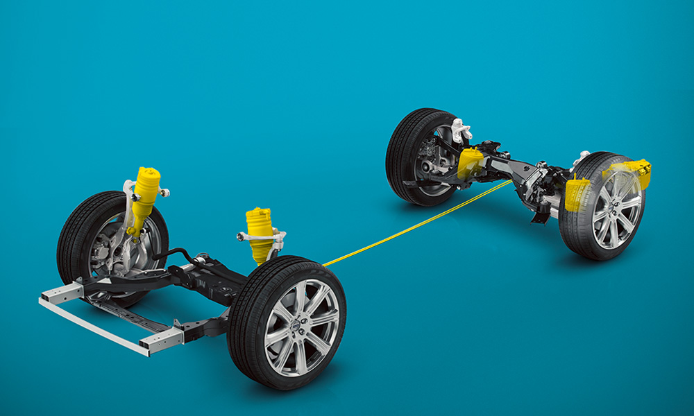 The Volvo XC90 features an air-suspension option (air springs in yellow) to improve ride comfort.
