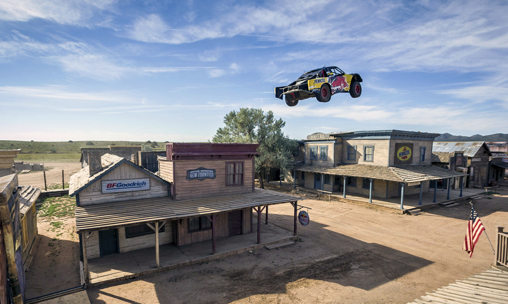Record jump over ghost town