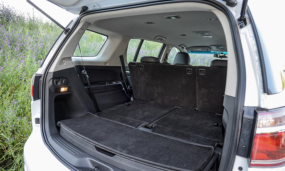 The rear row in the Trailblazer can be neatly stored in the floor.