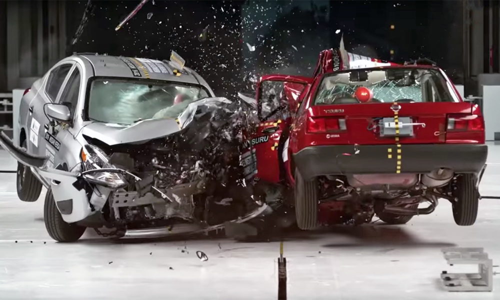 Global NCAP crash test involving two Nissan models
