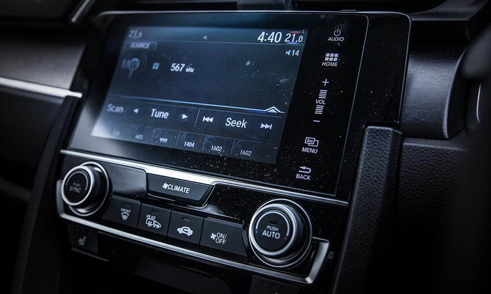 The seven-inch infotainment system.