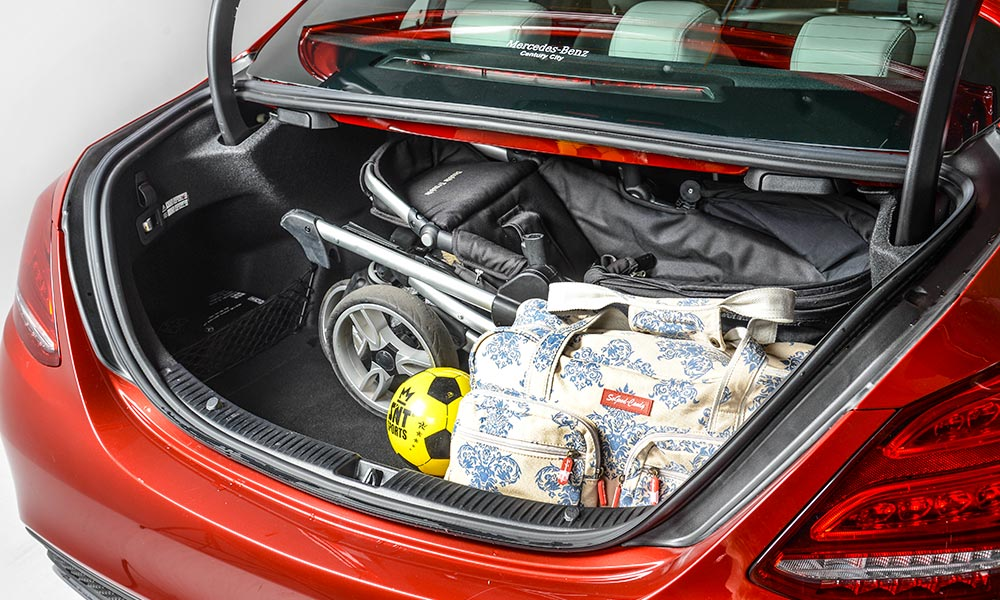 The sedan offers more packing space below its boot lid than the GLC underneath its parcel shelf.