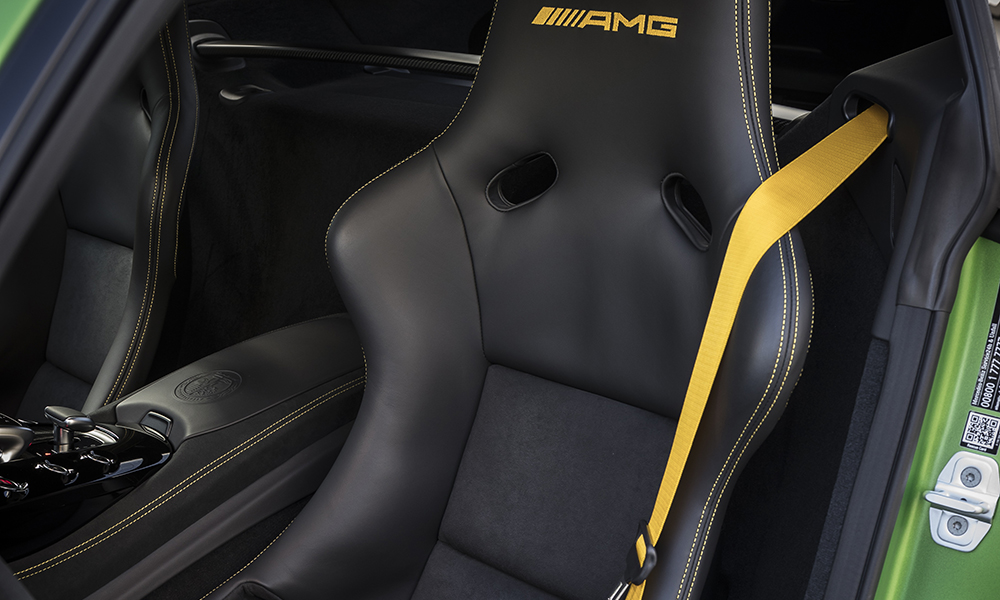 Striking yellow seatbelts are an extra-cost option
