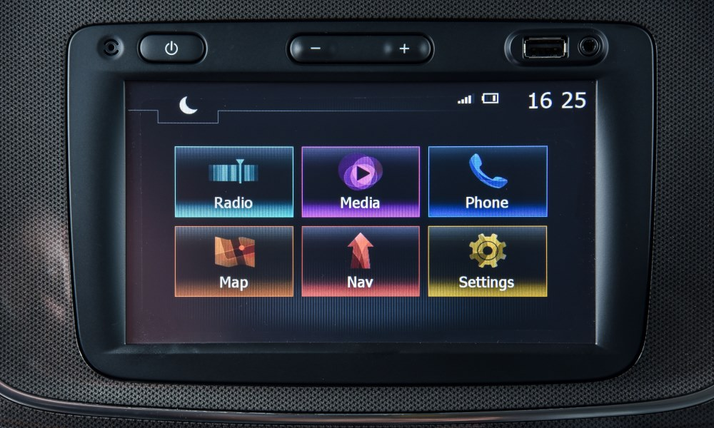 The touchscreen infotainment system comes standard with navigation.