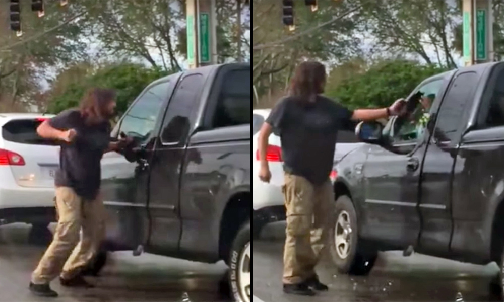 Road rage involving pepper spray