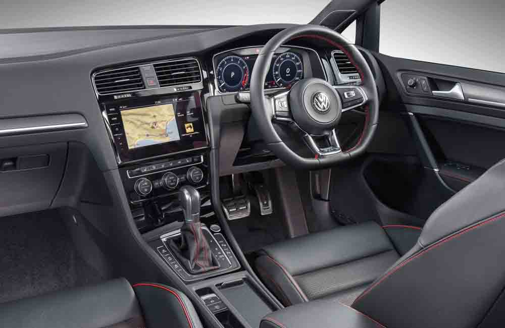 Cabin remains visually appealing and offers high quality with red stitching, new infotainment system (including a larger screen) and a sporty, flat-bottomed steering wheel.