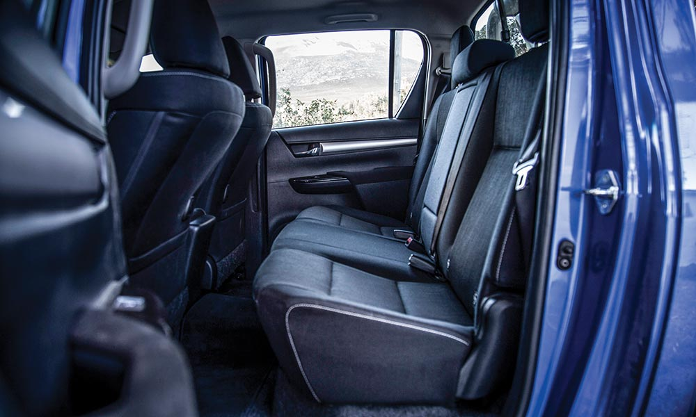 More upright rear-seating position in the Hilux compared with some of the others here.