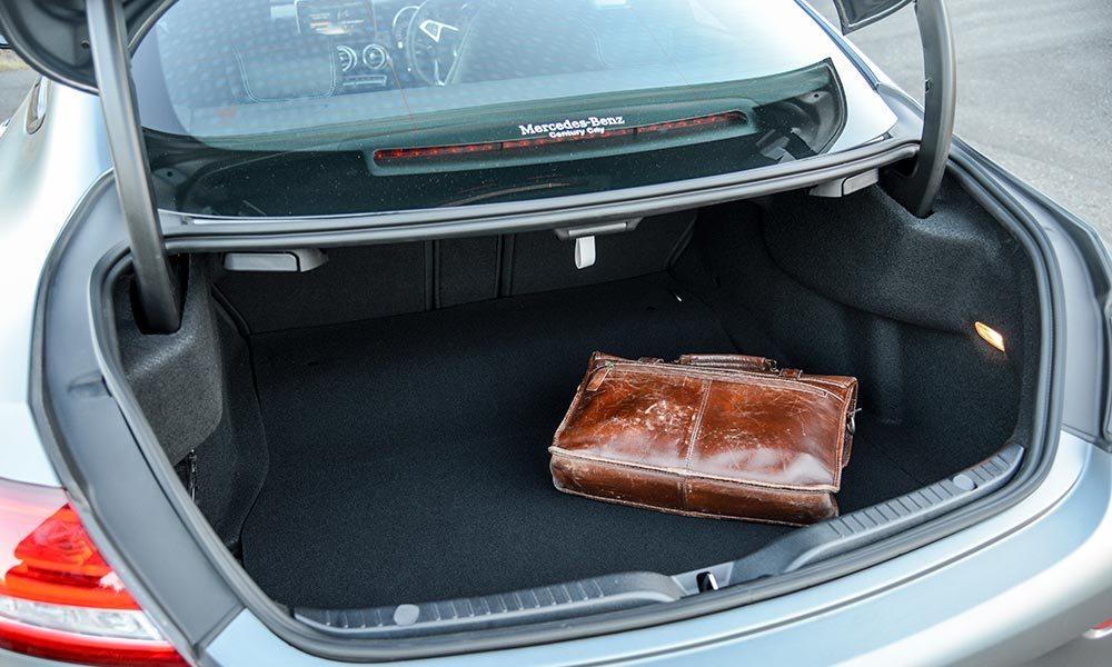 The Mercedes-AMG comes off second-best when it comes to luggage space...