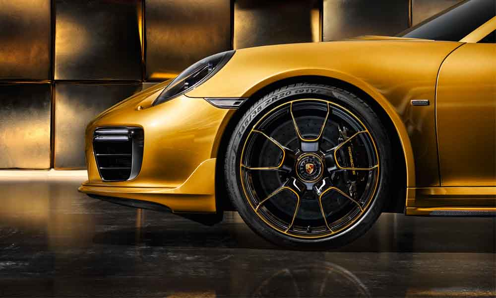 Bespoke 20-inch wheels feature thinnest spokes ever produced by Porsche.