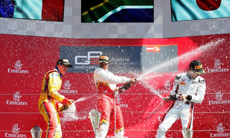 Raoul Hyman celebrates his maiden GP3 win at Red Bull Ring.