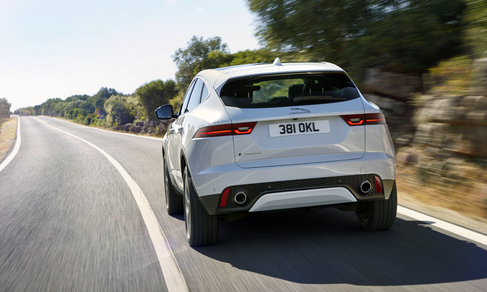 Note the F-Pace styling cues round back.