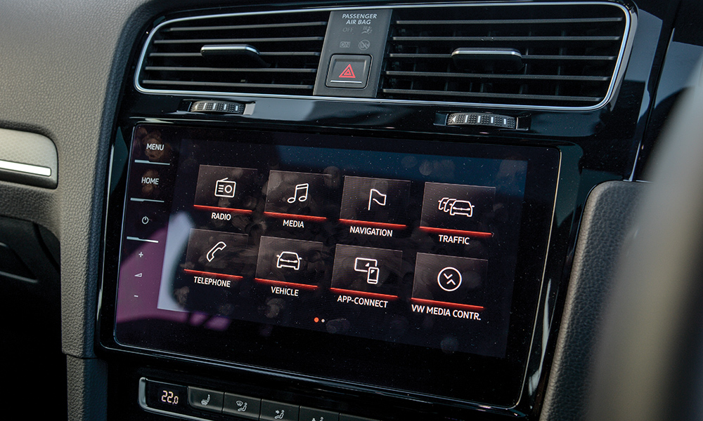 The GTI test unit boasts an optional upgraded infotainment screen.
