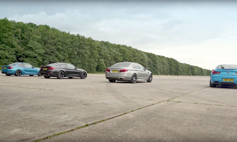 BMW M2 takes on M family in drag race