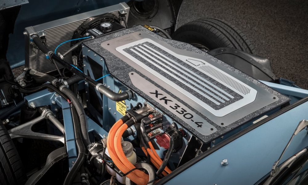 A 4,2-litre straight-six engine is not what you will find beneath the bonnet of this E-Type.