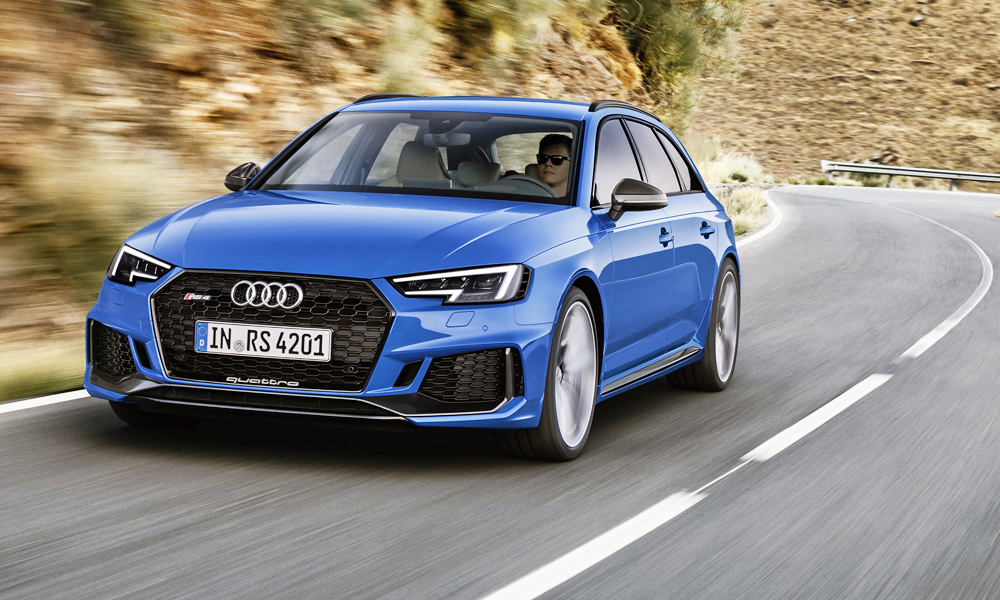 The Audi RS4 Avant is back, pictured here in Nogaro blue pearl effect paint.