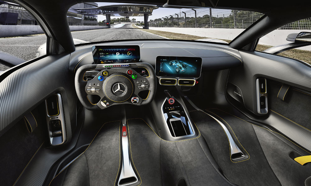 F1-style steering wheel ... and two seats.