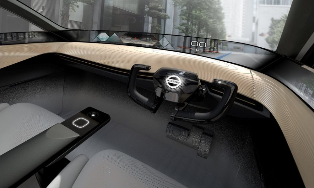 The steering wheel folds away when the vehicle enters autonomous mode.