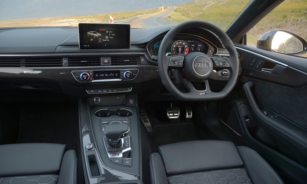 RS5 interior is typical Audi class with the Virtual Cockpit instrument cluster now standard.